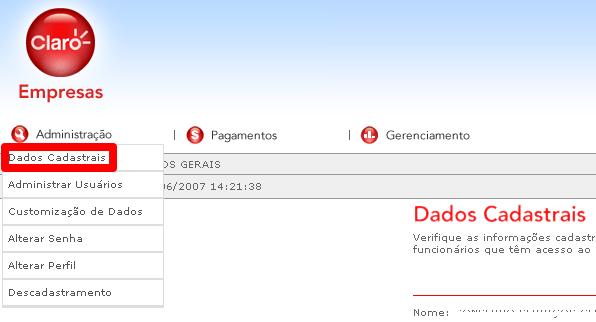 Conta Online Claro Empresas - administração dados cadastrais
