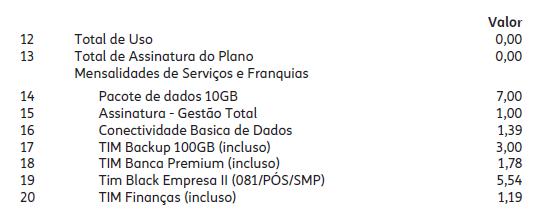 composição dos planos de telefonia móvel corporativa tim black, com o exemplo de uma conta corporativa em PDF detalhado.